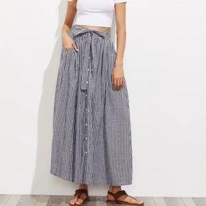 Maxi Skirt Hidden Pocket Button Self Tie Belt